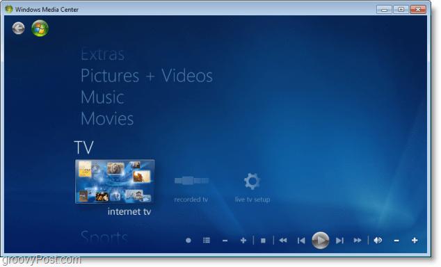 Windows 7 Media Center - internet tv now works!