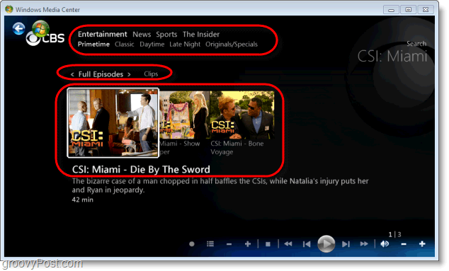 Windows 7 Media Center - many options available on the show page