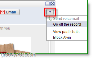Google Talk screenshot - go off the record, protect your privacy