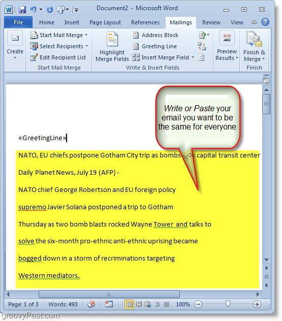 Outlook 2010 screenshot -write your mass email content