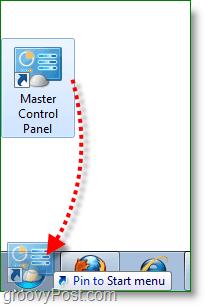 Windows 7 screenshot -drag master control panel to start menu
