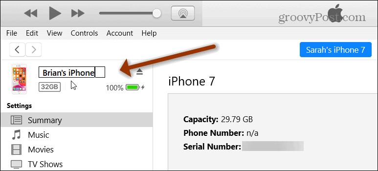Apple iTunes Change Device Name