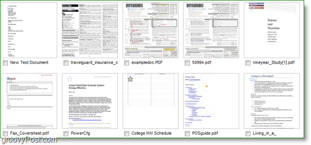 Google Docs in thumbnail mode