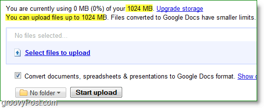 google docs new upload anything limit is 1024mb or 1GB