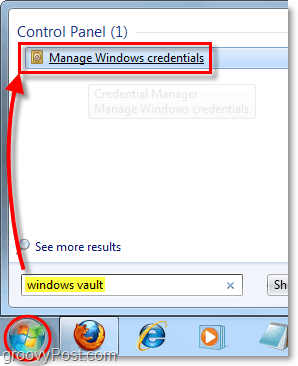 access windows vault from the start menu search in windows 7