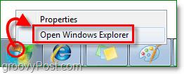 to enter the Windows 7 explorer, right-click the start orb and click open windows explorer