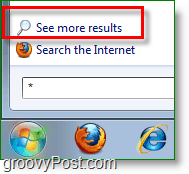 Windows 7 screenshot - see more results