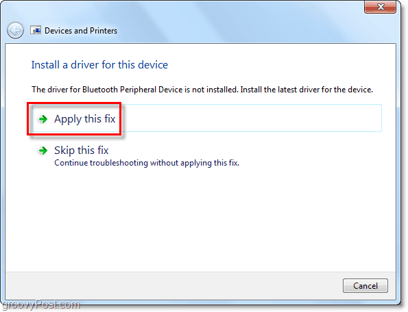 windows will search for a solution and if it is able to come up with one it will present youa  bluetooth connection fix