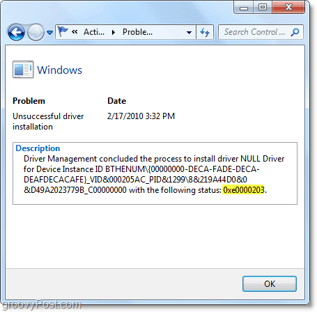 view technical information including windows 7 error codes