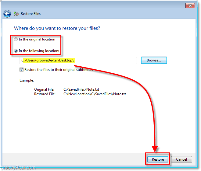 Windows 7 Backup - choose a destination for restored files
