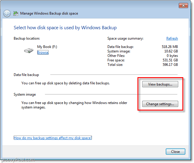 Windows 7 Backup - view your backup or change settings to adjust size