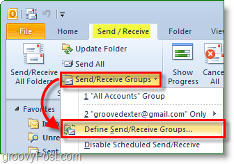 Outlook 2010 Screenshot - send and receive groups - define groups