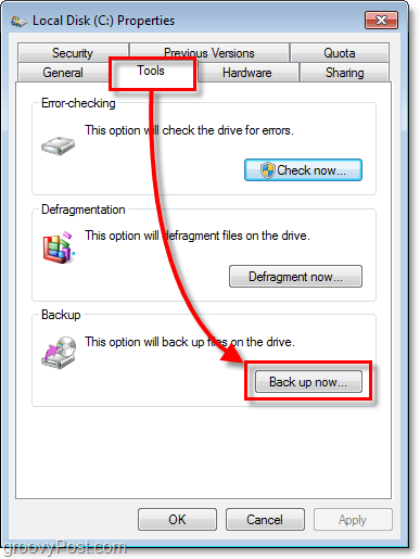 Windows 7 Backup - Tools tab on properties and Back up now button