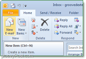 open office outlook 2010 and then click the new email buttom from the home ribbon