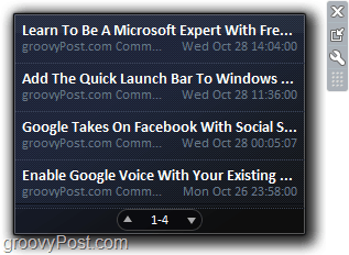 RSS feeds being displayed in Windows 7 using the easy feed gadget