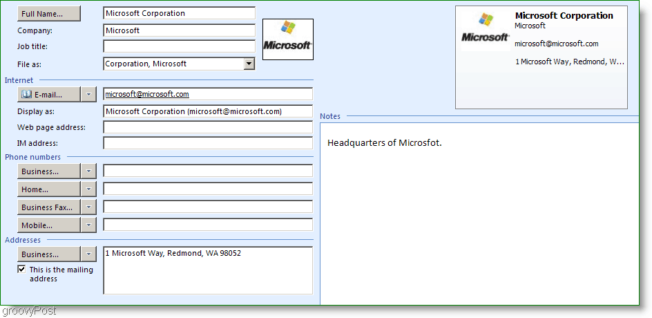 Microsoft Outlook 2007 Contact
