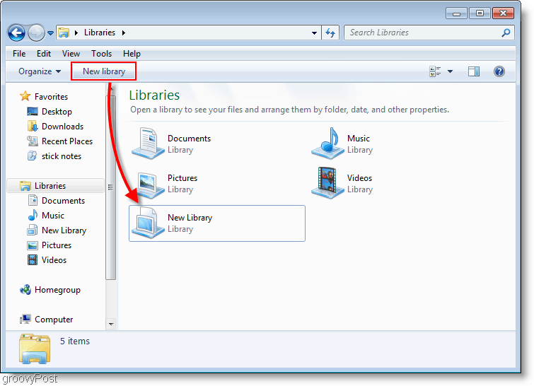 how to create a new library in windows 7