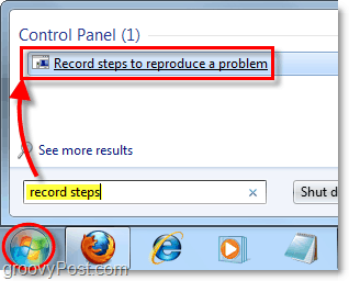 click the windows 7 start orb and search for record steps