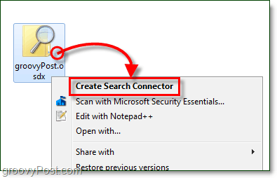 right click on your desktop and then click the osdx file which is a search connector and then click create search connector for windows 7