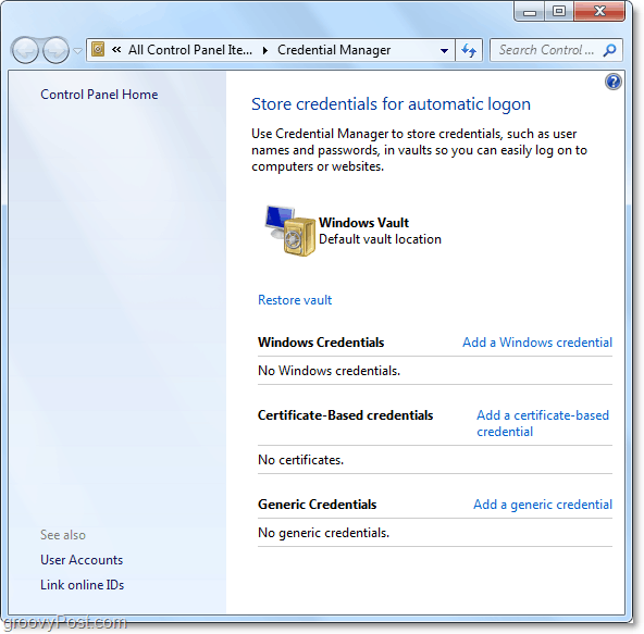 an overall look at windows 7 credential manager vault