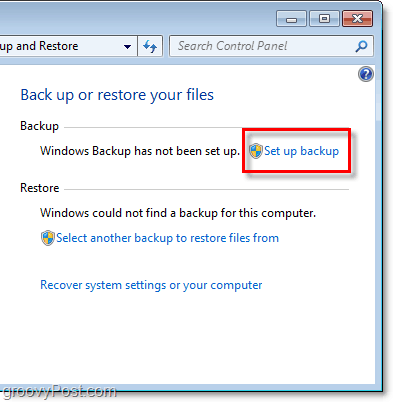 Windows 7 Backup - set up backup