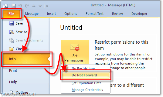 from a new email message access the backdrop under the file menu and then go to the info tab and click set permissions and then select do not forward