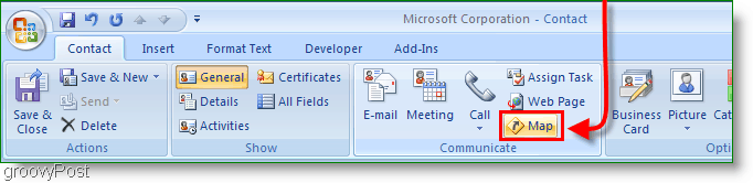 Microsoft Outlook 2007 Contacts Map Button