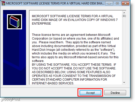 Windows 7 VHD Install License