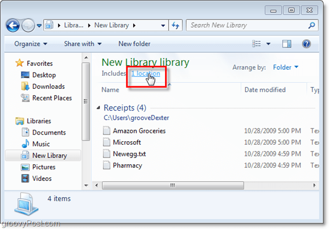 press the location link to set add new locations to a windows library