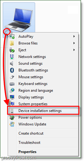 in the context menu of your windows 7 computer and go down to device installation settings
