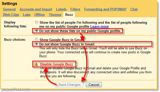 in gmail settings click the google buzz tab