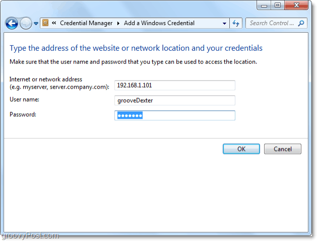 add a network resource to windows 7 vault