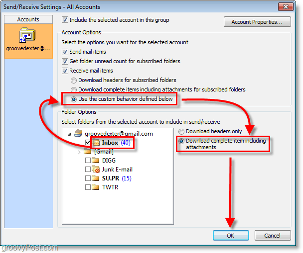 Outlook 2010 Screenshot - inbox > use custom behavior > download complete item