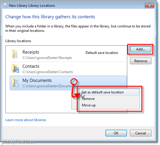 Add a new library folder or set a current folder as a default location