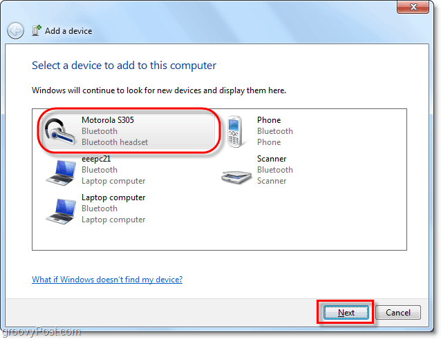 fe20e783975b90 click your bluetooth device from the Windows 7 add a device wizard and  click next