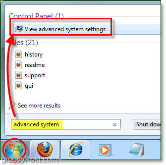 how to view advanced system performance options in windows 7