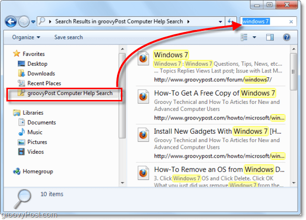 use a search connector for your favorites list to search a remote location within Windows 7 that isn't actually part of your system