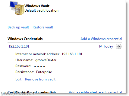 a stored credential can be edited from windows 7 vault