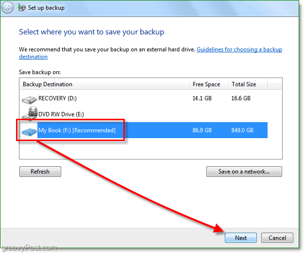 Windows 7 Backup - select a backup location