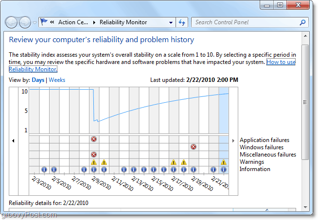 find when a problem in windows 7 first starts by looking at the dates