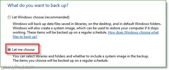 Windows 7 Backup - choose which folders you would like to backup