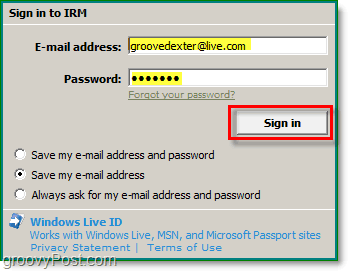 sign in to windows live using office outlook 2010