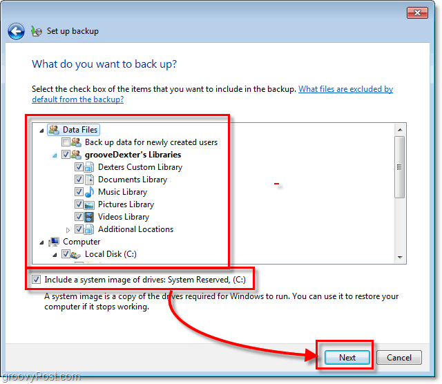 Windows 7 Backup - choose in detail what you want to be backed up