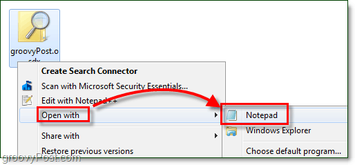 open a search connector with notepad to edit it in windows 7