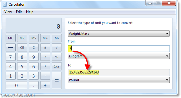 converting kilograms to pounds using windows 7 calc