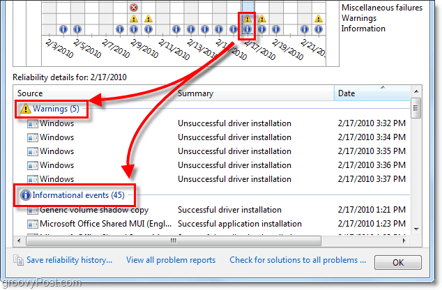 view windows 7 reliability problems and information messages