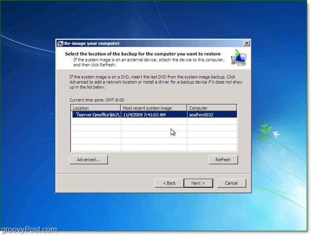 you can use a system image from on the network to restore Windows 7