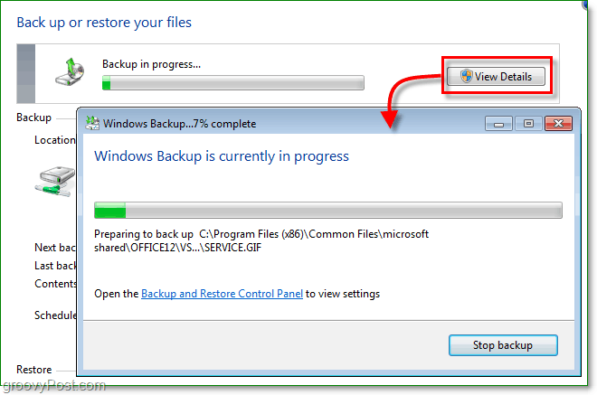 Windows 7 Backup - the backup can take some time