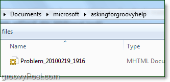 the windows 7 problem steps file will be inside of the zip file