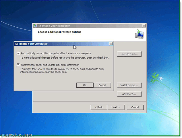 use the advanced options to customize your windows 7 system image restore